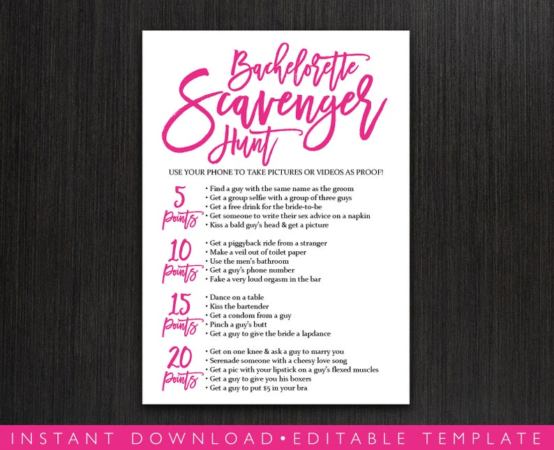 image about Free Printable Bachelorette Party Games named Bachelorette Scavenger Hunt Printable Match, Bird Evening Bash Recreation, Bridal Shower Activity Playing cards, Scavenger Image Concern, Editable Template