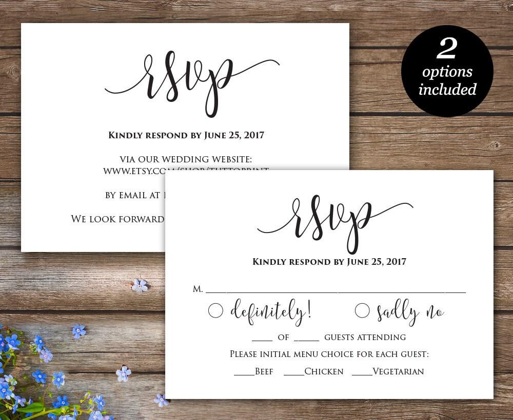 rsvp printable card wedding rsvp cards wedding response etsy