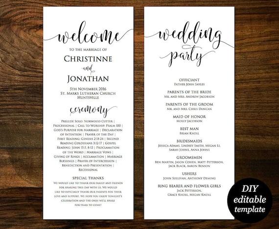 wedding program template printable wedding program wedding etsy
