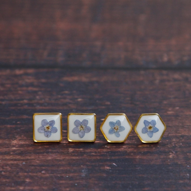 real flower forget me not resin earrings gold filled stainless steel botanical jewelry pressed flower jewelry geometric earrings