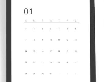 2018 Monthly calendar, Minimalist calendar 2018, minimal desk calendar printable, modern 2018 calendar, black and white calendar download