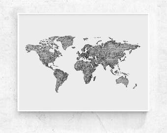World map print etsy world map art print printable world map large print black and grey world map poster world map wall art world map print 24x36 18x24 gumiabroncs Image collections