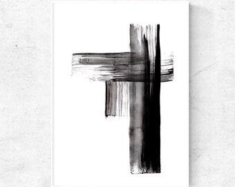 Black and white Abstract printable art print, abstract ink art, modern painting, black abstract painting, 4x6, 5x7, 8x10 art prints download