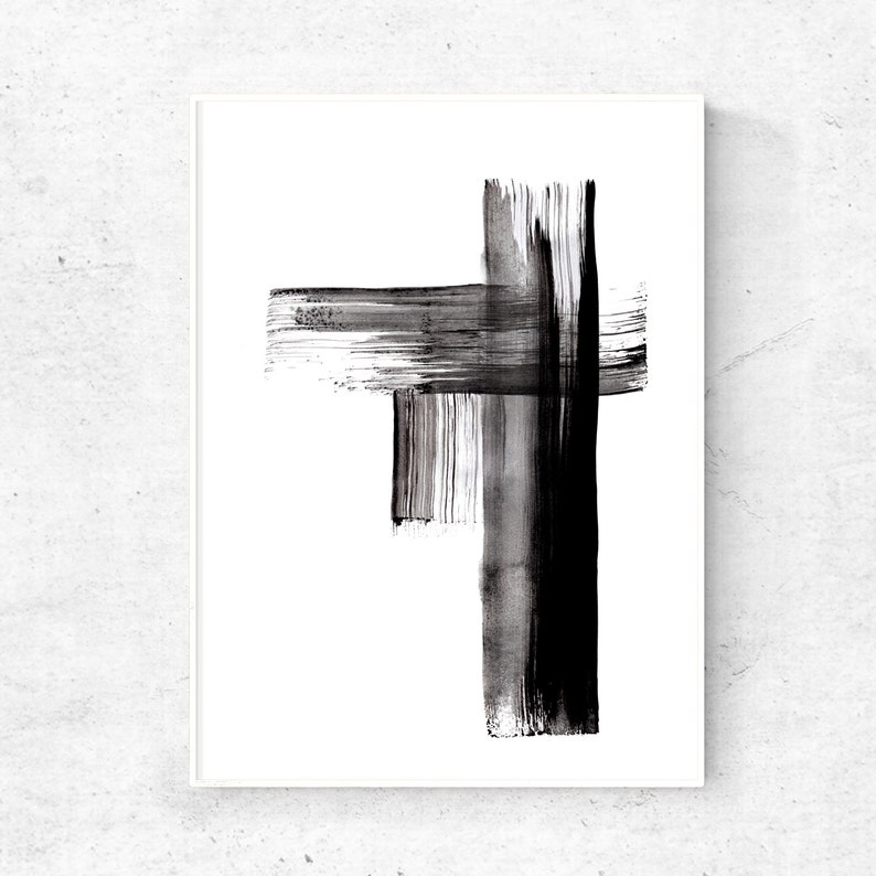 Black and white Abstract printable art print abstract ink image 0