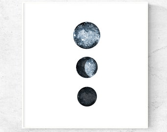 Minimalist moon phases print, abstract download, modern wall art, watercolor painting, moon phase printable, 5x5, 8x8, 12x12 art prints
