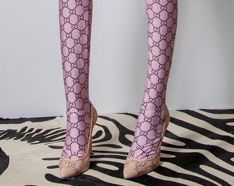 81c6c081d Logo Mania Repeat Logo Patterned Women s Footless Leggings or Tights  Covering Feet Soft Pink Mauve