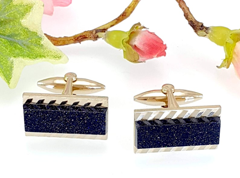 Vintage 1970s Gold Tone Dark Blue Goldstone Glittering Cufflinks