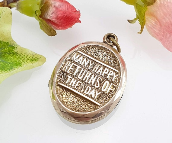 Antique Victorian 9 Ct Gold Birthday Locket, Many