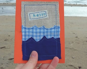 Greetings card, birthday card, friendship card, hello, blank cards, seaside, blank greeting card, thank you card, made in Cornwall, for him