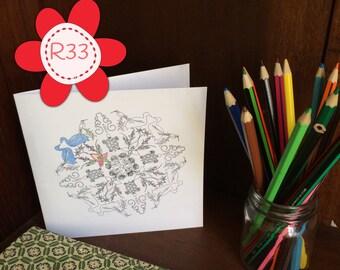 Colouring in mandala greetings card