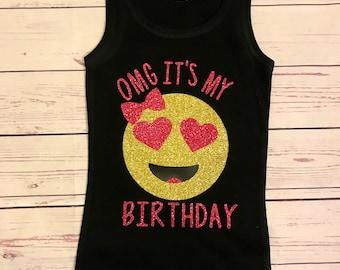 Emoji Birthday OMG Its My Girl Kids Shirts For
