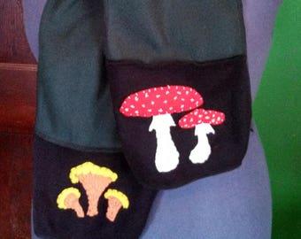 Forest Green and Black Wild Mushroom Fleece Scarf with Hand-stitched Folk Art Felt Mushrooms - Chanterelle, Amanita Muscaria, Fly Agaric
