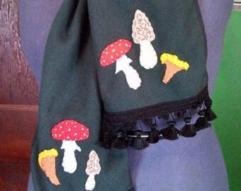 Forest Green Wild Mushroom Fringed Fleece Scarf with Hand-stitched Folk Art Felt Mushrooms - Morel, Chanterelle, Amanita Muscaria