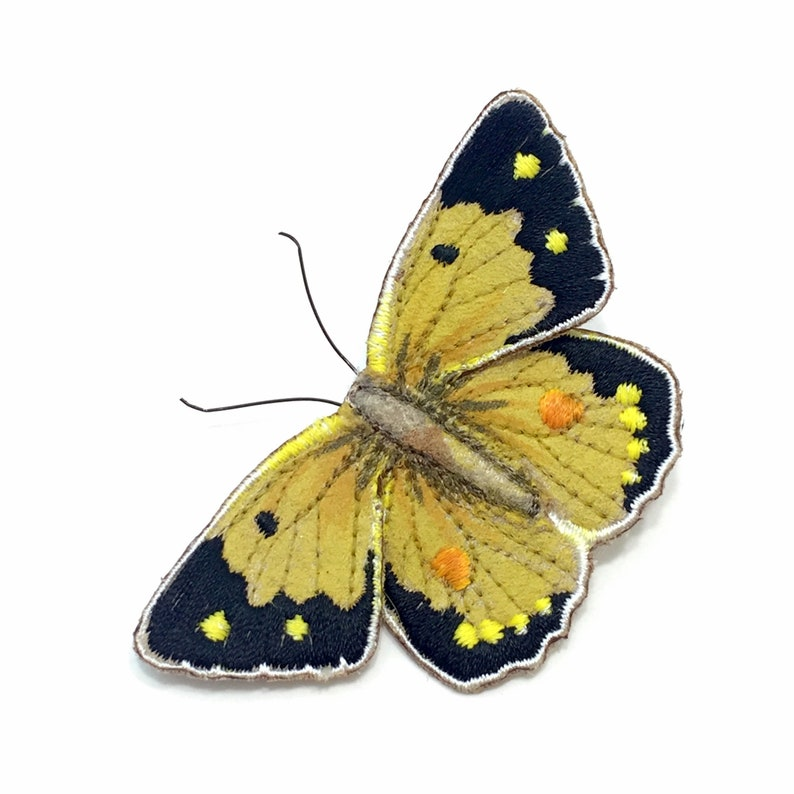 Clouded yellow butterfly brooch realistic embroidered and image 0