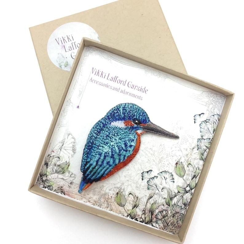 Kingfisher brooch bird jewellery gift for bird lover gift image 0