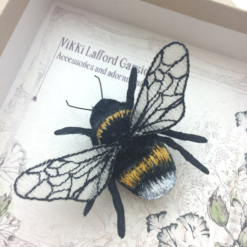 Bumblebee brooch embroidered bee insect pin nature brooch image 0