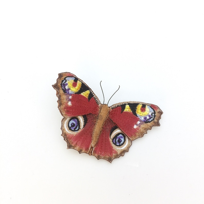 Peacock butterfly brooch realistic embroidered and hand image 0