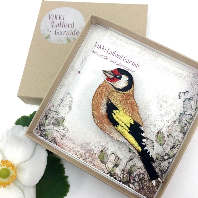 Goldfinch bird brooch bird pin gift for bird lovers fabric image 0