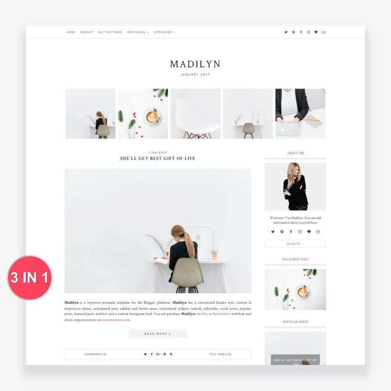 Blogger Template  Premade Blogger Template  Responsive image 0