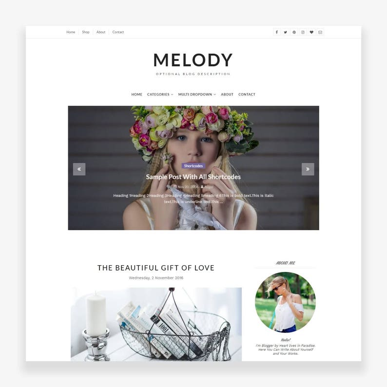 Clearance Sale Melody  Blogger Template  Premade  image 0