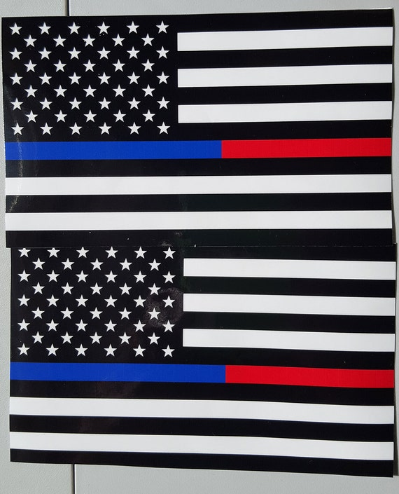 "TATTERED Thin Blue Line Police respect flag Vinyl Decal Sticker 3x5/""  Lives 2"