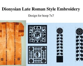 Dionysian Late Roman Style Machine Embroidery