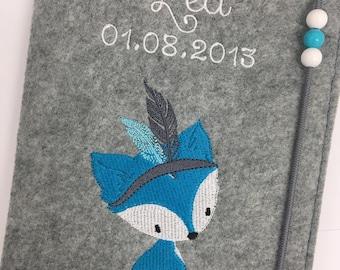 U-heft sleeve felt / name / fox / boho / date of birth / desired colors