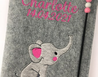 U-Booklet Cover Felt / Names / Elephant / Date of Birth / Desired Colors