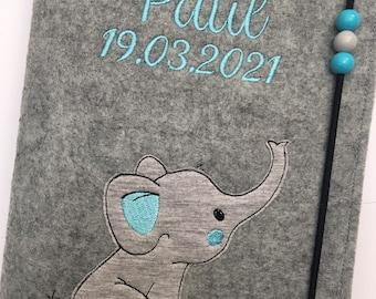 U-heft sleeve felt / name / elephant / date of birth / desired colors