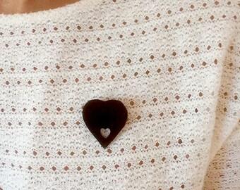 black velvet heart brooch