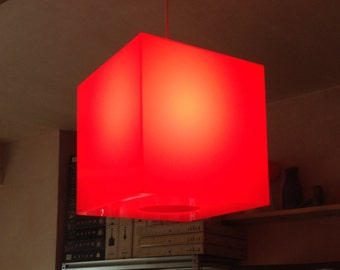 Red Perspex cube lampshade - Lumicube code: LSF | also available in Orange and pink Perspex