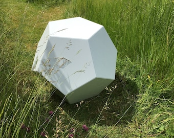 Dodecahedron outside Table | Mathematical object | Garden sculpture