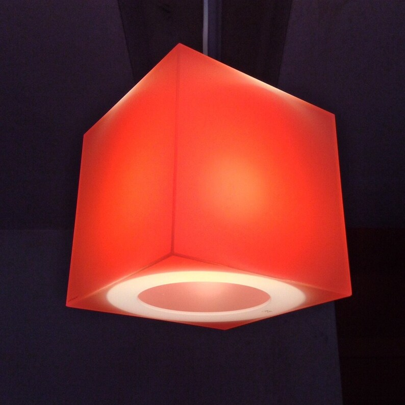 Orange & other hot colours  cube lampshade  Translucent image 0