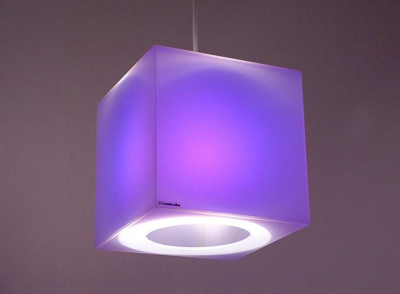 Purple & other cool colours  175mm cube lampshade  Frost image 0