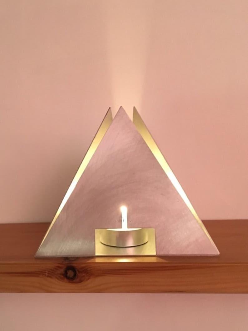 Open Tetrahedron  Pyramid  Metal Tea light holder  Lantern image 1