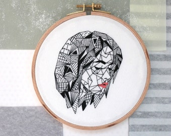 "Geometric Woman in Black, Meditation, 6"" Embroidery Hoop"