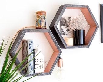 Hexagon Floating Shelf - Copper & Ebony