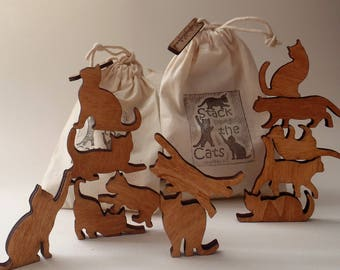 Stack the Cats! Cat lover gift. Bag of twelve wooden cats
