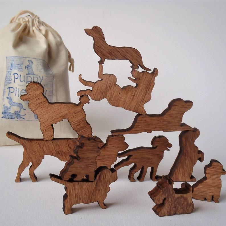 Puppy Pile-Up Dog lover gift. Bag of twelve miniature wooden image 0