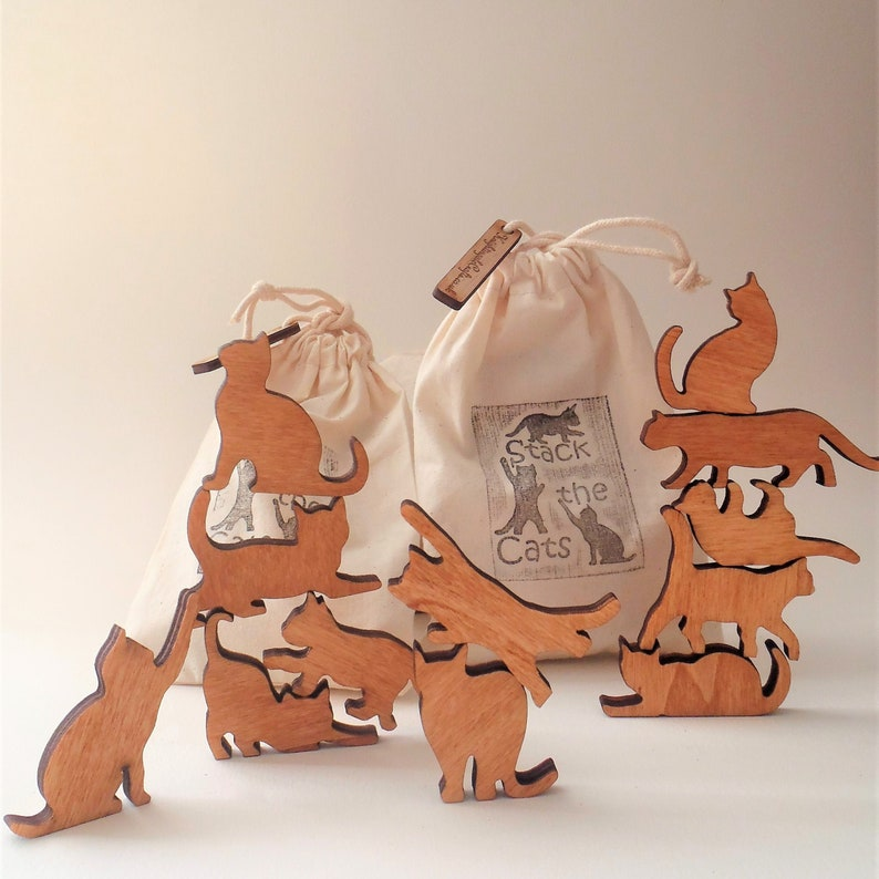 Stack the Cats Cat lover gift. Bag of twelve mini wooden cats image 0