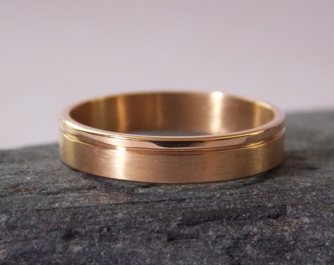 18K pink gold matte & shiny 4 mm Ribbon Alliance