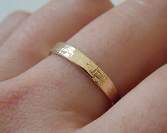 Fine gold hammered ring