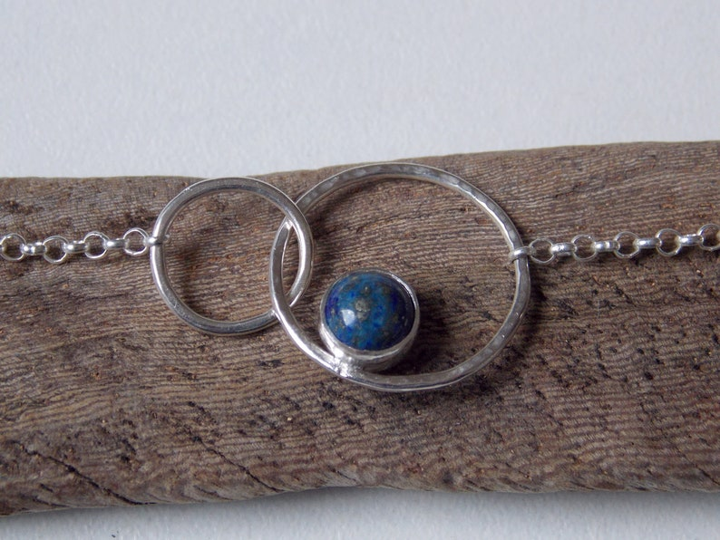 Necklace 2 rings in Sterling Silver set with lapis lazuli