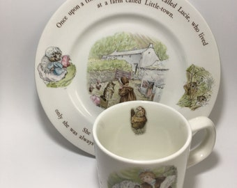 Wedgwood Beatrix Potter Mrs. Tiggy-winkle Childs Mug and Plate