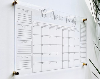 Personalized Acrylic Calendar For Wall || office decor dry erase whiteboard family 2021 wall calendar desk perpetual hanging 03-007-030