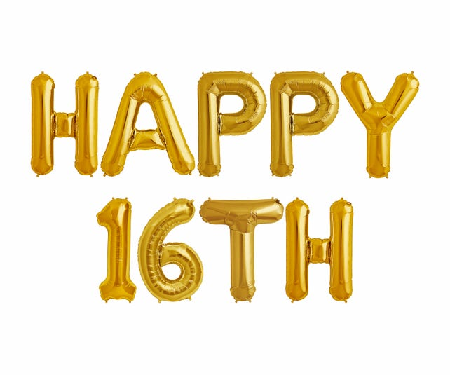 1b54f48bbf01b 16th Birthday Decorations Party Supplies Jumbo Rose Gold Foil Balloons For  SuppliesAnniversary Events And Graduation. Happy 16th Balloons Banner