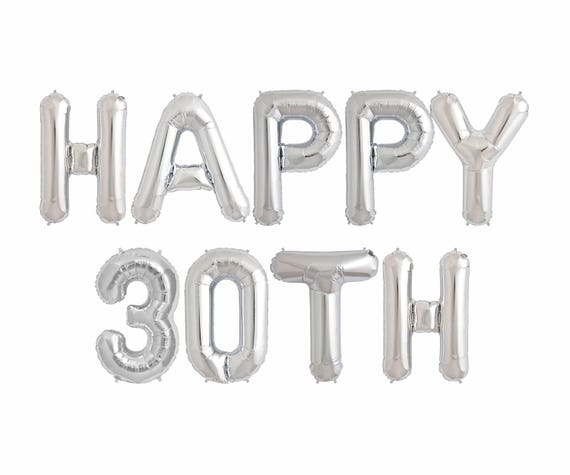 Happy 30th Balloons Birthday Party Decorations Banner Ideas Etsy