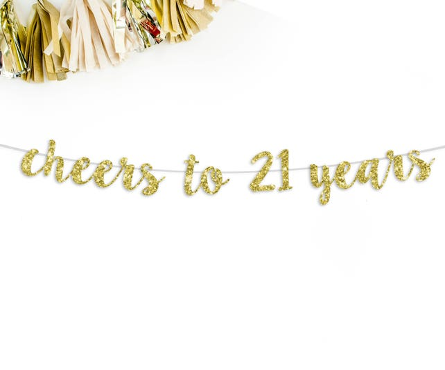 Cheers To 21 Years Cursive Glitter Banner
