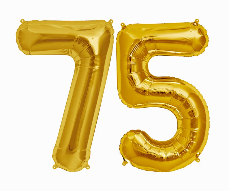 75 Balloons 75th Birthday Party Decorations Letter Balloon