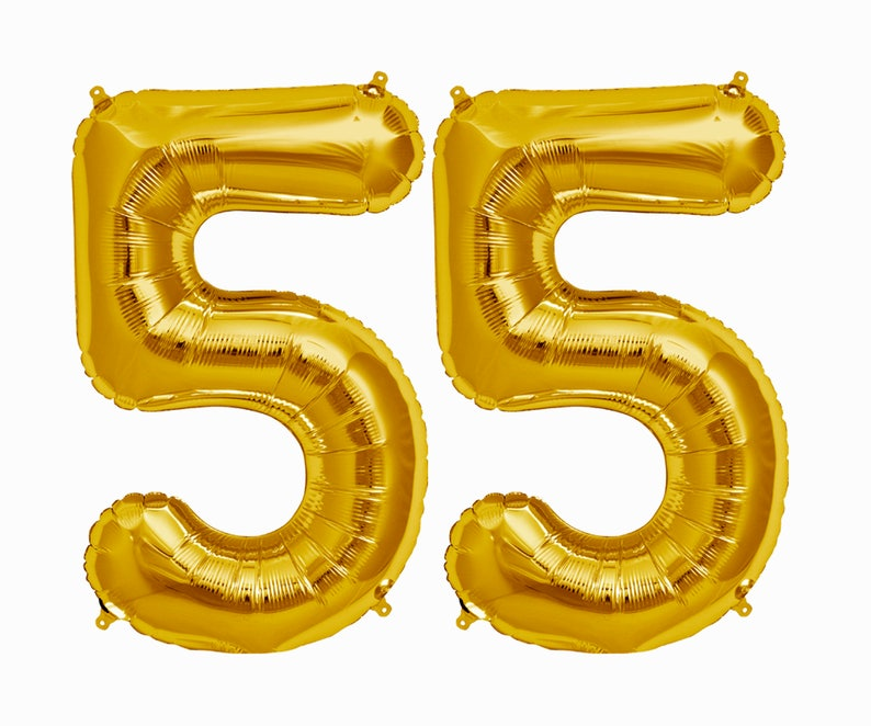 55 Balloons 55th Birthday Party Decorations Jumbo Letter